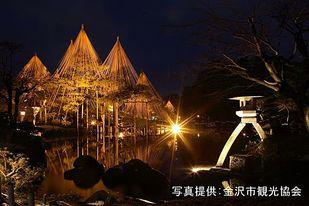 兼六園の冬の絶景!幻想的な雪吊りのライトアップを楽しもう